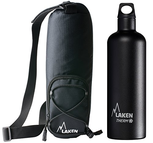 Laken Bundle - Thermo Futura Vacuum Insulated Stainless Steel Water Bottle Narrow Mouth, Black, 25 Ounce + Bottle Carrier Bag