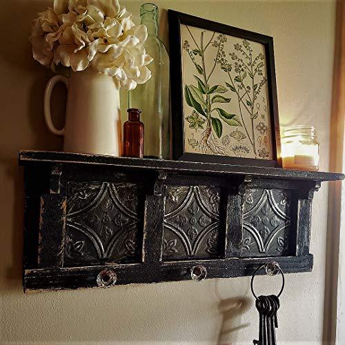 "Antique Style TIN Black Wall shelf, Distressed Wall Shelf, French Country Wall Shelf, Shabby Chic Shelf, Book Shelf, Kitchen Shelf, glass knob hooks, 24"""