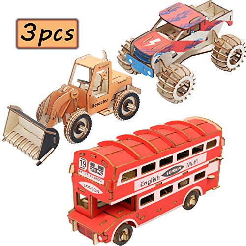 Calary 3D Car Wooden Puzzle Model DIY Car Model London Bus Wooden Toy Laser Cut Wood Puzzle Kit for Kids and Adults (3PCS/Set)