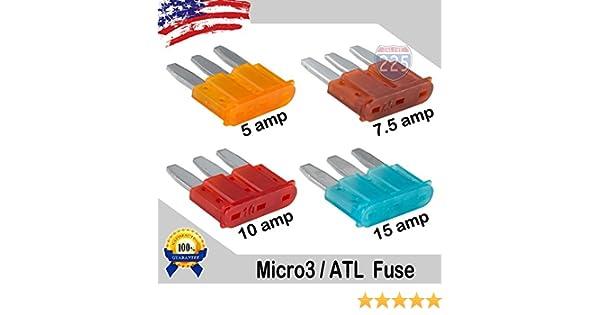 24 Pack 5-15 AMP APT ATR Micro3 Blade Fuse Car Truck Boat Marine RV