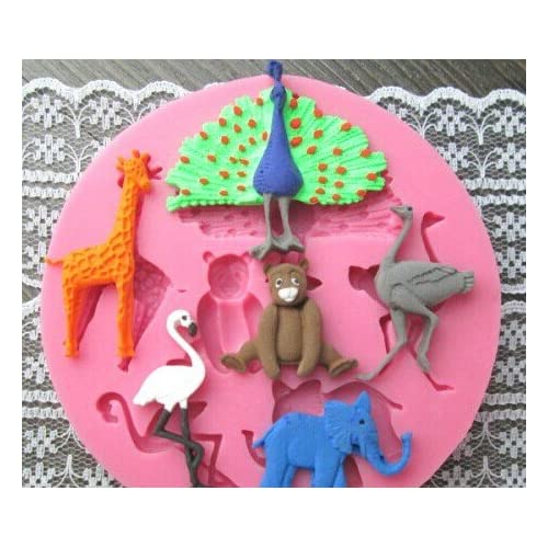 Allforhome(TM) 6 Cavity Animal Cake Decoration Moulds Silicone Cake Chocolate Fondant Mold Sugar paste Sugar Craft DIY Moulds, Zoo Party, Elephants, Ostriches, Giraffes, Peacocks, Flamingos, Bears