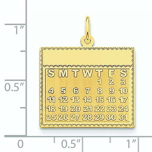 Jeudi 14 Carats Pendentif le premier jour de calendrier-Dimensions :  25,5 x 21, 8 mm JewelryWeb -