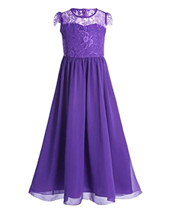 LaoZan Girls Formal Dresses Sleeveless Princess Wedding Bridesmaid Party Prom Evening Dress Dark Purple for 9