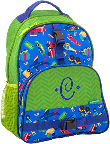 Monogrammed Me All Over Print Backpack, Green Transportation, with Embroidered Sweetheart Monogram C