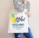 Destination Wedding Tote Bag, Hotel Bags Pineapple Favor Bag Wedding Favors Welcome Guests Hawaii Tropical Pineapple Aloha Bag