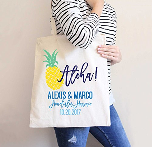 Destination Wedding Tote Bag, Hotel Bags Pineapple Favor Bag Wedding Favors Welcome Guests Hawaii Tropical Pineapple Aloha Bag by 77IrmaPetty