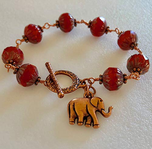 Burnt Orange Rustic Czech Glass Bracelet, Premium Picasso Glass, Elephant Charm, Copper Wire Wrapped, Hammered Copper Toggle Clasp, Boho, Fall Bracelet. ()