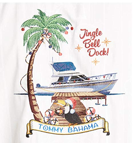 Tommy Bahama Embroidered Christmas Jingle Bell Dock Silk Camp Shirt (Color: Continental, Size ()