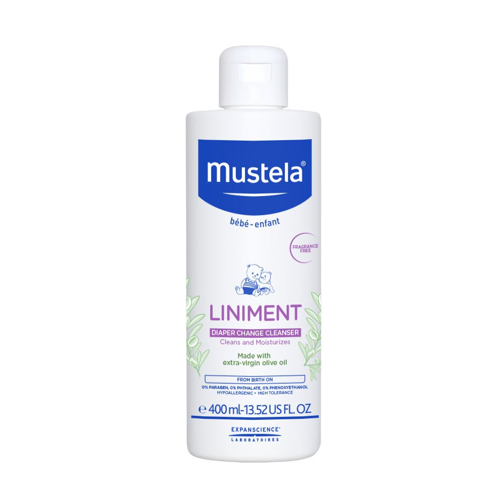 Mustela Liniment, Natural No-Rinse Baby Cleanser for Diaper Change, with Extra-