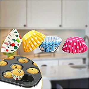 Crazydeal 50Pcs Mini Colorful Paper Cake Cup Print Liners Baking Cupcake Cases Muffin Cake