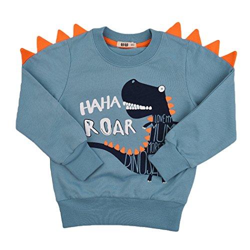 Kids Boys Christmas Dinosaur Long Sleeve T-Shirt Pullover Tee Shirt Cotton Top With Horn 2-10 Years