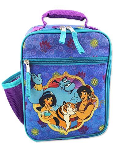 Disney Aladdin Princess Jasmine Girls Boys Soft Insulated School Lunch Box (One Size, Purple/Blue)
