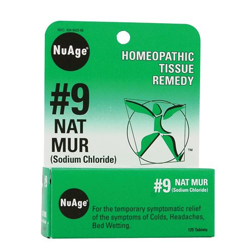NuAge Homeopathic #9 Natrum Muriaticum Tablets, Natural Relief of Colds, Headaches & Constipation, 125 (Nat Mur Homeopathic)