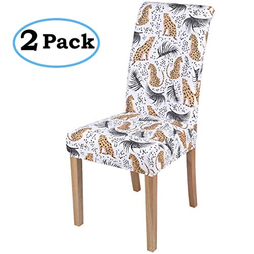 misaya Stretch Dining Room Chair Cover Spandex Removable Washable Tropical Leopard Printing Chair Slipcover for Kitchen, Set of 2, Style 15 (Leopard Chair)