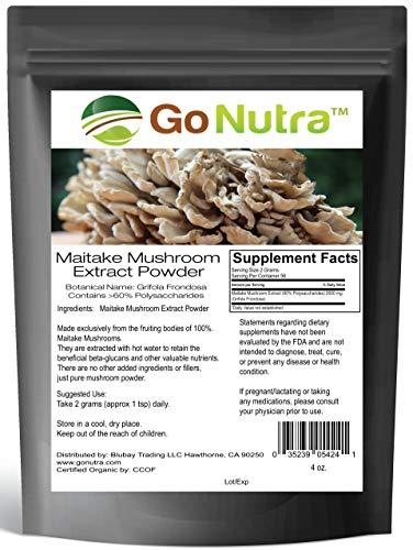 8 Oz Mushroom - Maitake Mushroom Extract Powder by Go Nutra   Grifola Frondosa 60% Polysaccharides   Maitake King of The Mushrooms   Immune Support, Blood Sugar Regulation 8oz