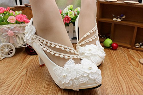 de zapatos boda encaje talones nupciales de los blanco blanco de mujeres hechas Las perla a la mano de altos la JINGXINSTORE P4XBgX