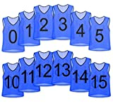 Unlimited Potential Nylon Mesh Numbered Scrimmage Team Practice Vests Pinnies Jerseys for Children Youth Sports Basketball, Soccer, Football, Volleyball (Blue Numbered, Adult)