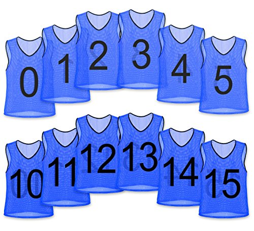 Pinnies Youth (Unlimited Potential Nylon Mesh Numbered Scrimmage Team Practice Vests Pinnies Jerseys for Children Youth Sports Basketball, Soccer, Football, Volleyball (Blue Numbered, Adult))