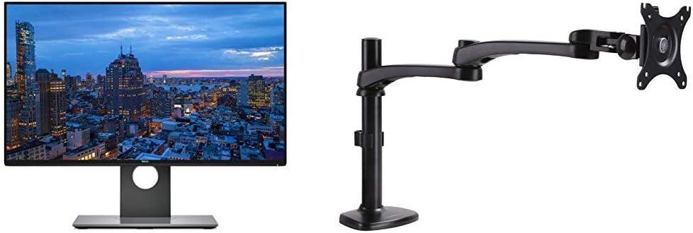 Dell Ultrasharp 24 inch Infinity Edge Monitor - U2417H with AmazonBasics Single PC Monitor Stand - Modular Arm Mount, Aluminum Bundle