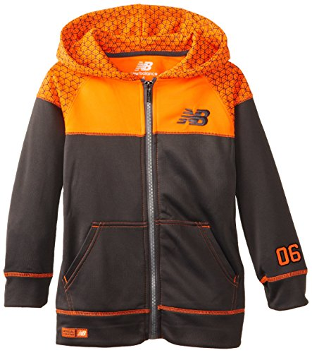 New Balance Little Boys High Tech Poly Fleece Color Block and Printed Tricot Jacket, Charcoal/Orange, 5/6