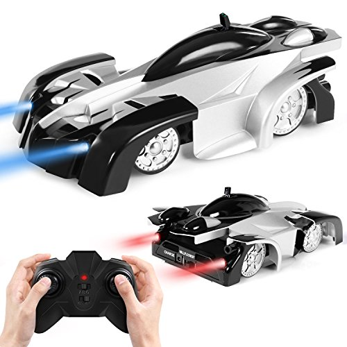 SGILE Remote Control Car Toy, Rechargeable RC Wall Climber Car for Kids Boy Girl Birthday Gift Present with Mini Control Dual Mode 360° Rotating Stunt Car LED Head Gravity-Defying,Black