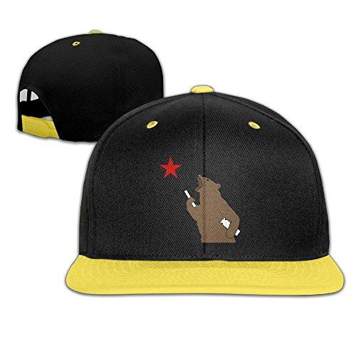 Hip Hop Baseball Cap Brown Bear and Red Star Trucker Flat Hats For Boy Girls by Oopp Jfhg