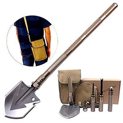 Pagreberya Survival Shovel Kit with Multi Tools Compass Knife Saw Firestarter Screwdriver Attack Cone, Compact and Portable Folding Shovel for Camping Backpacking Travel - Bonus Carrying Bag and Strap by Pagreberya