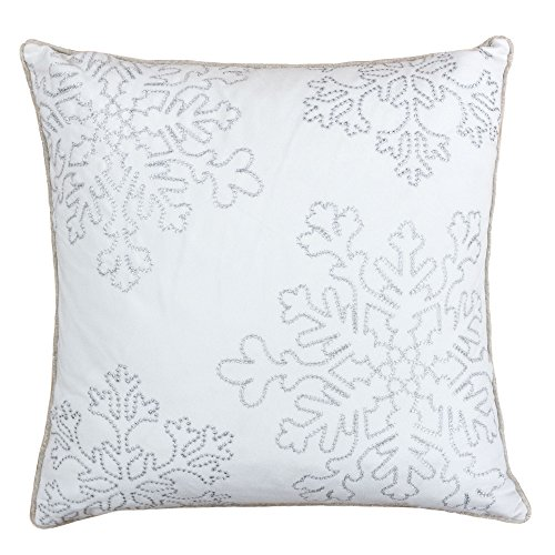 Homey Cozy Embroidery White Velvet Throw Pillow Cover, Merry Christmas Series Snowflake Luxury Soft Fuzzy Cozy Warm Slik Gift Square Couch Cushion Pillow Case 20 x 20 Inch, Cover Only (Merry Pillow Throw Christmas)