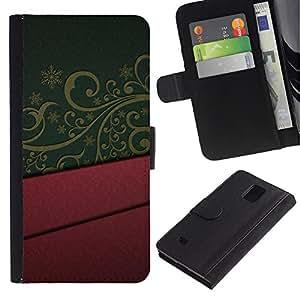 """Samsung Galaxy Note 4 IV / SM-N910 , la tarjeta de Crédito Slots PU Funda de cuero Monedero caso cubierta de piel ("""" Design Interior Purple Green Pattern Art"""")"""