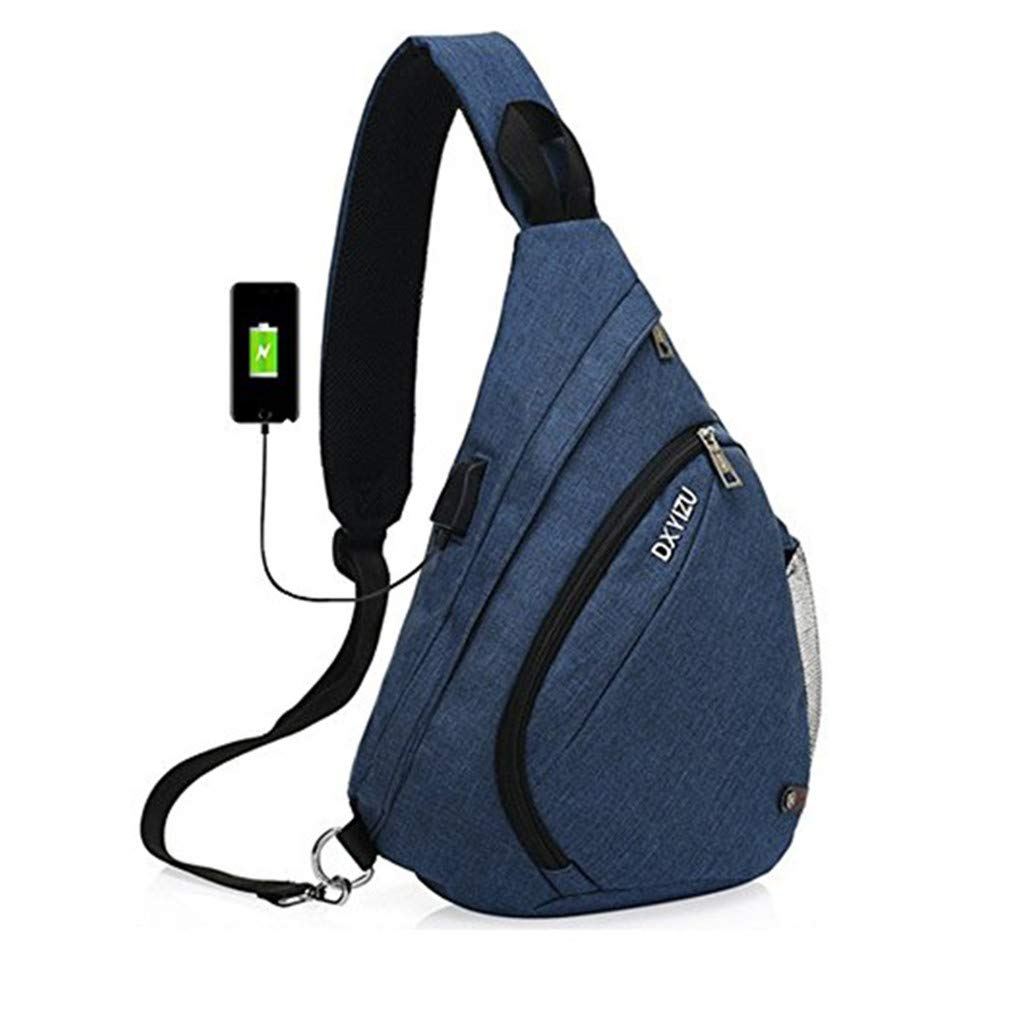 Canvas Sling Shoulder Bag Women Men Deisgn External USB Chest Pack Antitheft Mini Messenger Crossboda Bag Black