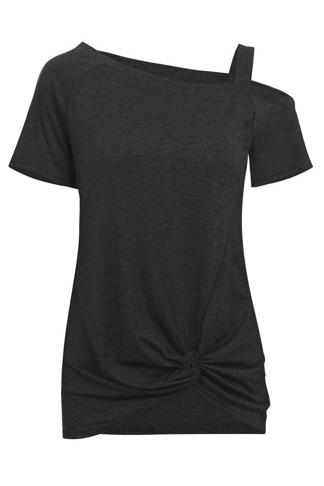 X-xyA Womens Cold Shoulder T-Shirt Short Sleeve Front Knotted Side Twist Tops Casual Loose Fit Tee,BlackGray,XL