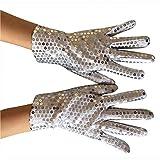 Carnival Cabaret Sequin Gold Party Wear Gloves Hand Gloves Sequin Rave Dance Gloves (White)