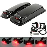 XMT-MOTO Vivid Black Hard Saddlebag Lid LED Spoiler Kit Fit Harley Touring Saddlebag lids 1993-2013