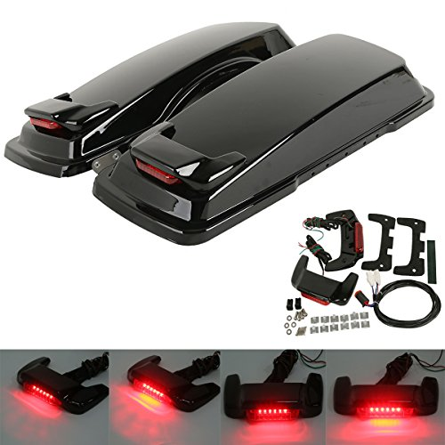 - XMT-MOTO Vivid Black Hard Saddlebag Lid LED Spoiler Kit Fit Harley Touring Saddlebag lids 1993-2013