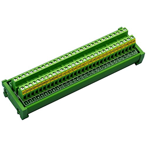 Electronics-Salon DIN Rail Mount 30 Position 24A / 400V Screw Terminal Block Distribution Module. by Electronics-Salon