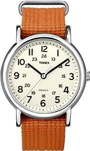 Timex Unisex T2N745 Weekender Slip Thru Orange Nylon Strap Watch