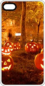 Lawn of Halloween Carved Pumpkins White Plastic Case for Apple iPhone 4 or iPhone 4s