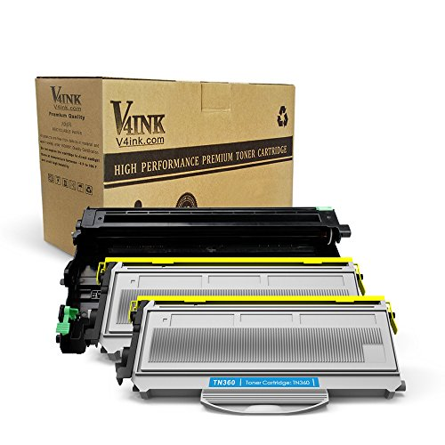 Cartridge Drum Model (V4INK New Compatible (1 Drum + 2 Toners) Brother TN360 Toner Cartridge + DR360 Drum Set Use with Brother DCP-7030 DCP-7040 HL-2140 2150N HL-2170W Brother MFC-7340 MFC-7840W 7440N MFC-7345N Printer)