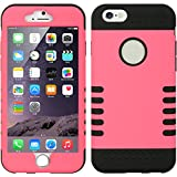 Iphone 6, 6s Travel Case Holder Hot Pink Black High Impact Armor Two Layer and Cleaning Cloth and Protector