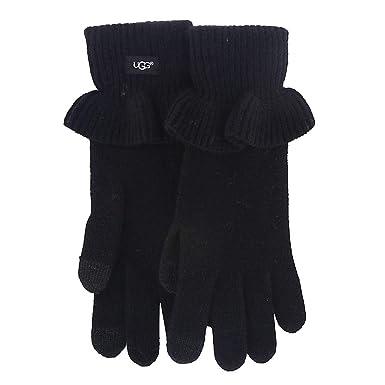 3757411b8f4c3e UGG Women's Ruffle Knit Tech Gloves Black One Size at Amazon Women's ...