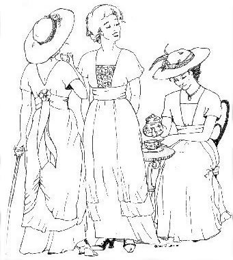Edwardian Ladies Clothing – 1900, 1910s, Titanic Era 1910s Tea Gown Pattern                               $19.95 AT vintagedancer.com