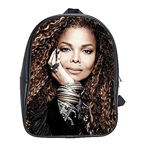 Janet Jackson Unbreakable Leather Backpack Notebook Laptop Macbook Ipad Bag School Rucksack Bag (Janet Jackson 12)