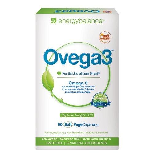 Ovega3 90 Omega 3 Kapseln mit 3 natürlichen Antioxidantien Astaxanthin, Q10, Vitamin C, ohne Gelatine, schadstofffrei