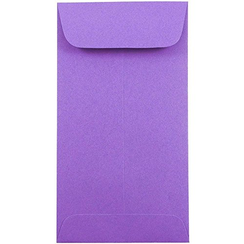 "JAM Paper #7 Coin Envelope - 3 1/2"" x 6 1/2"" - Brite Hue Violet Recycled Purple - 25/pack"