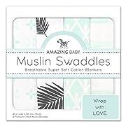 Amazing Baby Muslin Swaddle Blankets, Set of 4, Premium Cotton, Paradise, Pastel SeaCrystal