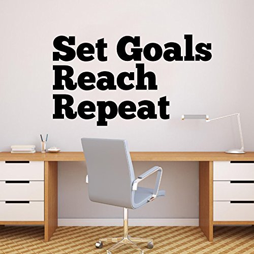 chengdar732 Vinyl Wall Art Decal - Set Goals Reach Repeat - 23'' x 40'' Inspirational Stencil Adhesives - Home Business Office Positive Quote Sticker Decals Gym Fitness Wall Decor Signs