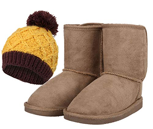 Kids' Boots Beanie Set Plush Sherpa Lined Faux Suede Winter Boots -