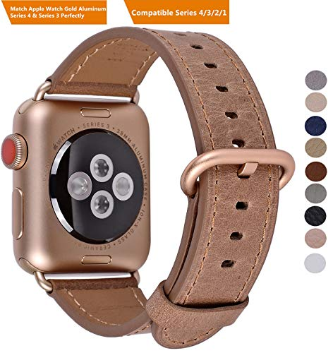 PEAK ZHANG Compatible Iwatch Band 38mm 40mm S/M Women Genuine Leather Replacement Strap Compatible iWatch Series 3 Gold/Series 4 Gold Aluminium,Caramel -