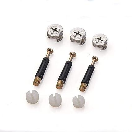 confezione piatta dado e tassello per bullone a camma Tiberham tasselli di bloccaggio resistenti con dado pre-inserito per armadietti e cassetti viti di fissaggio per mobili 20 pezzi