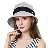 Fancet Packable Sun Bucket Hat Women Beach Hiking Protection Bonnie Gardening SPF Gray Black Ribbon
